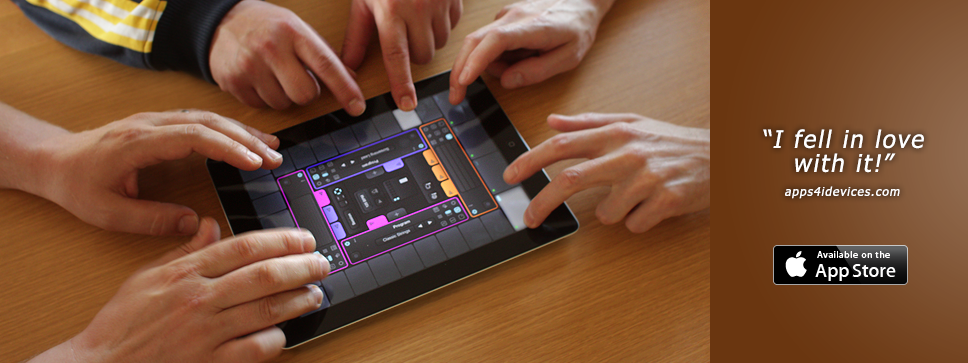 Cotracks multi-user collaborative music app designed for teamwork on iOS iPad can be played by 4 musicians simultaneously